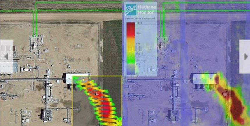 At left an aerial image of an industrial area overlaid with a zig-zag plume of green yellow and red in the lower left corner. At right the same image but with the plume as a more detailed mass of red.