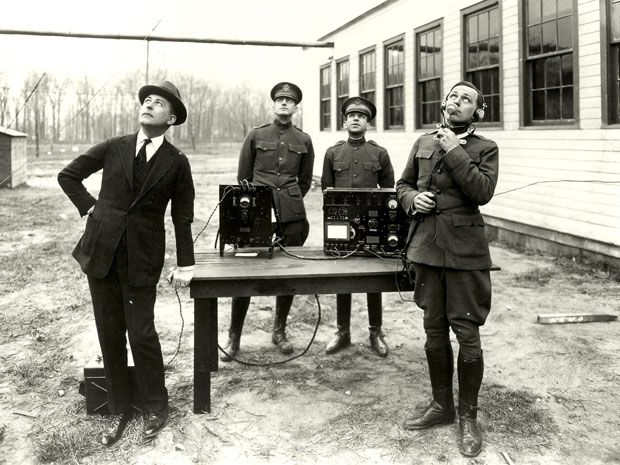 AT&T employees listen in on an early trial of air-to-ground voice communication.