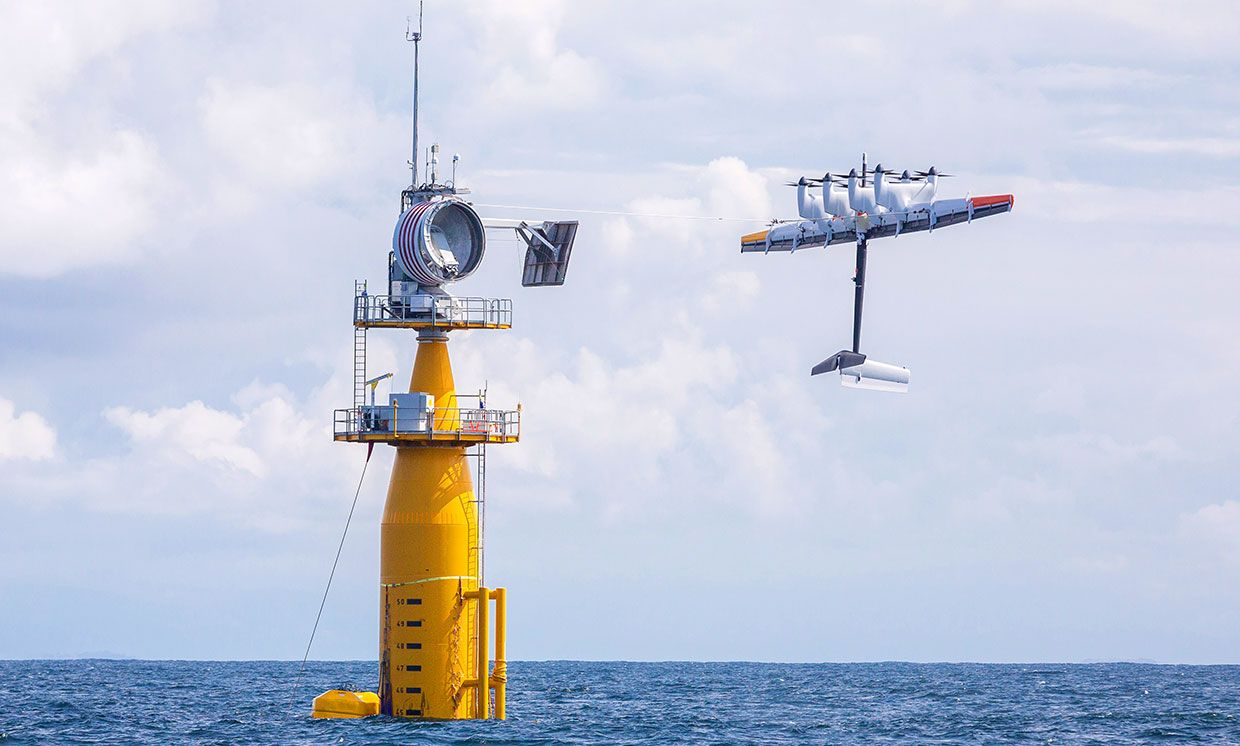 August photograph of Makani's energy kite and buoy setup in the North Sea.