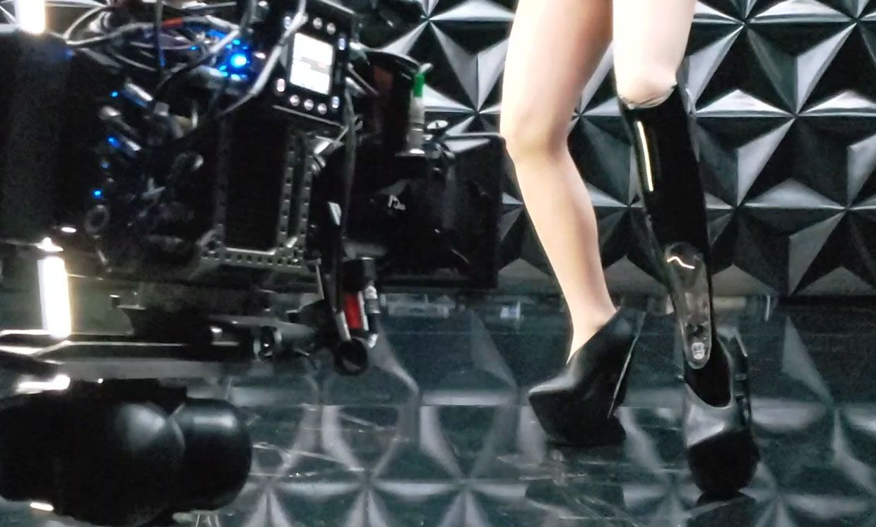 Behind the scenes video showing the tesla coil prosthetic limb on Viktoria Modesta