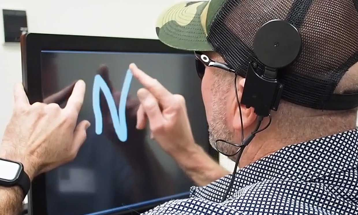 """Blind people are able to """"see"""" such letters as M, N, U, and W through a dynamic new type of brain stimulation."""