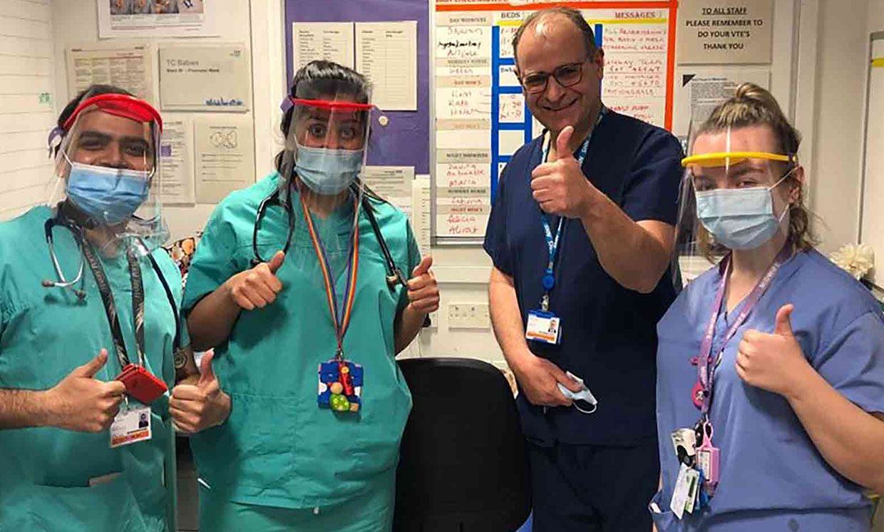 Clinical staff wearing the personal protection equipment at Barts Health NHS Trust, Queen Mary University of London's hospital.