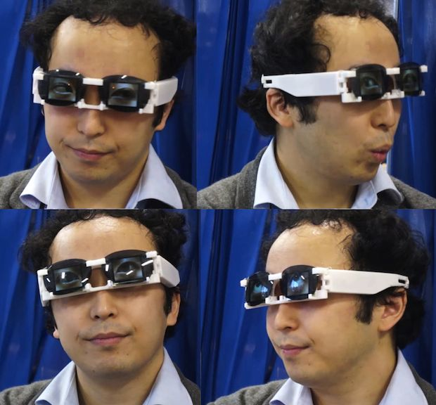 Composite of four views of man wearing glasses.