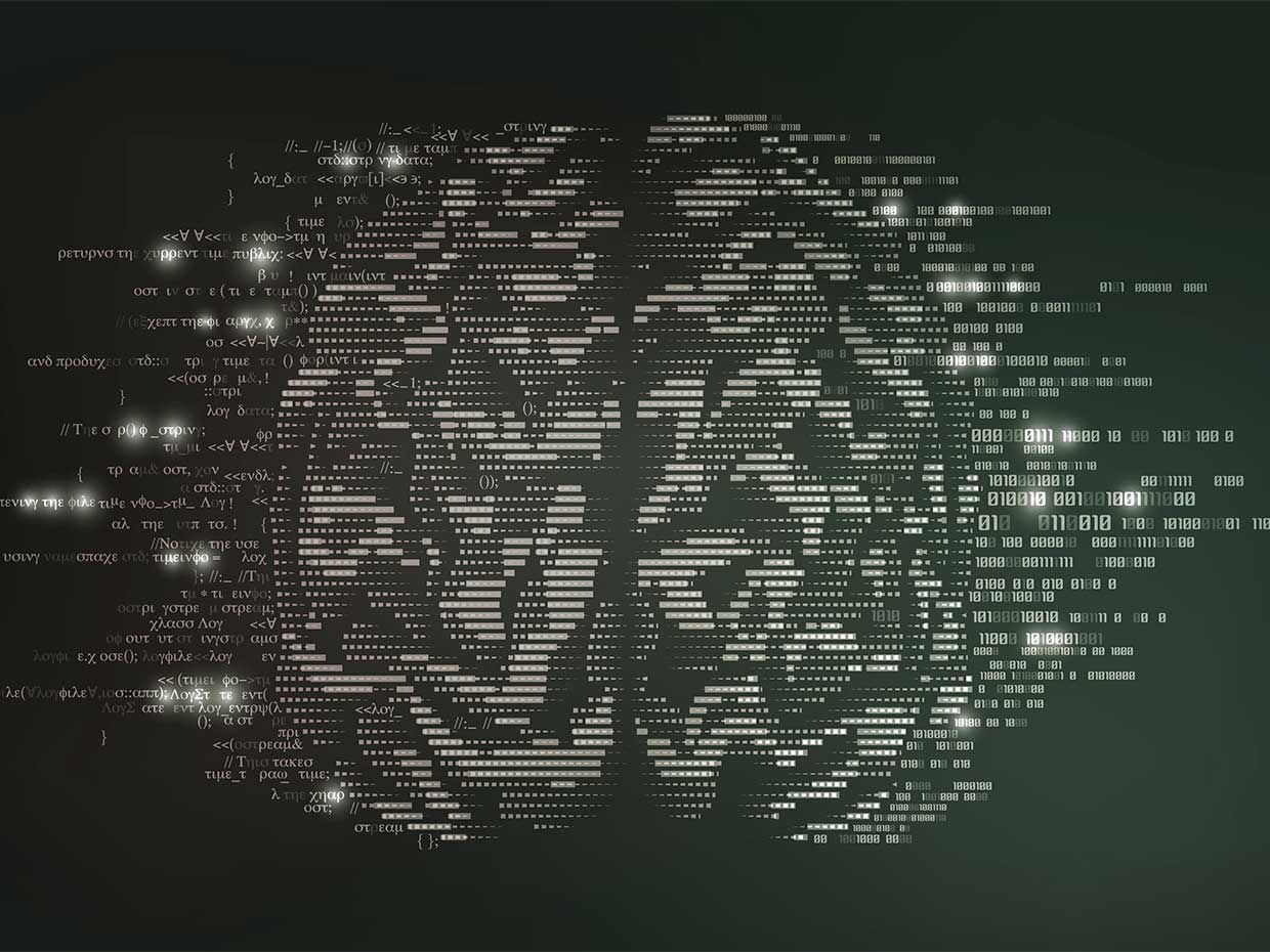 Conceptual illustration of an AI with code and binary symbols
