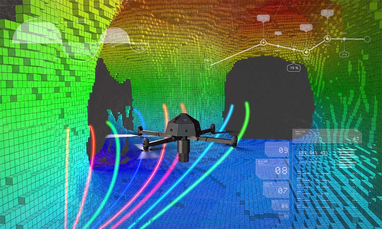 Conceptual illustration of the Prometheus drone mapping a mine