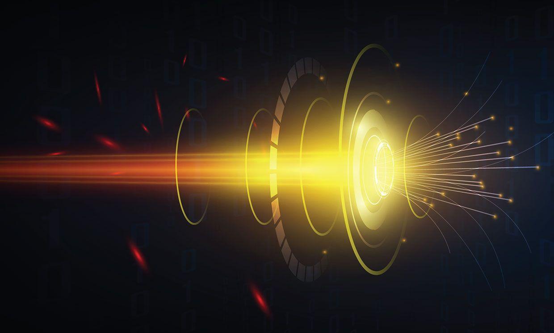 Conceptual image of speedy fiber optic transmission.