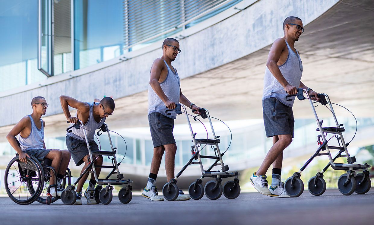 David, 28, can walk with a walker for more then 1 kilometer with electrical stimulation turned on.
