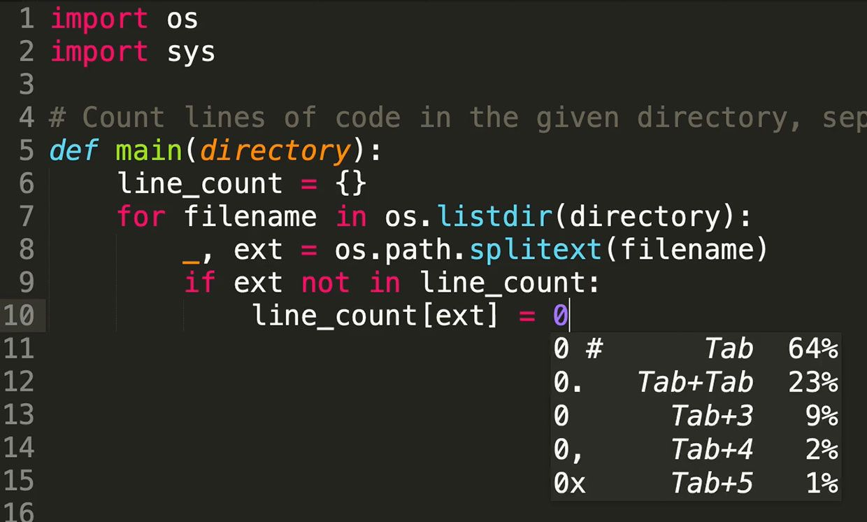 Deep TabNine is a software autocompleter that uses a deep learning model to support coding in 22 programming languages, including Python.