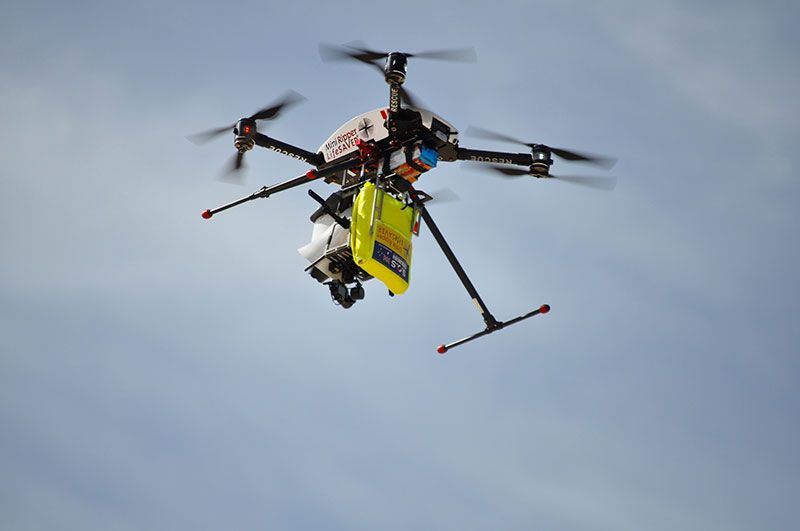 Delivery Drone Drops Life Preserver to Australian Swimmers