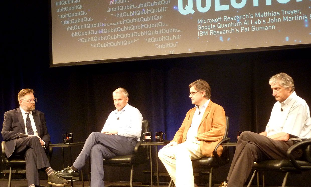 Discussing the present and future of quantum computing are (left to right) the Computer History Museum's David Brock,  IBM's Pat Gumann, Microsoft's Matthias Troyer, and Google's John Martinis