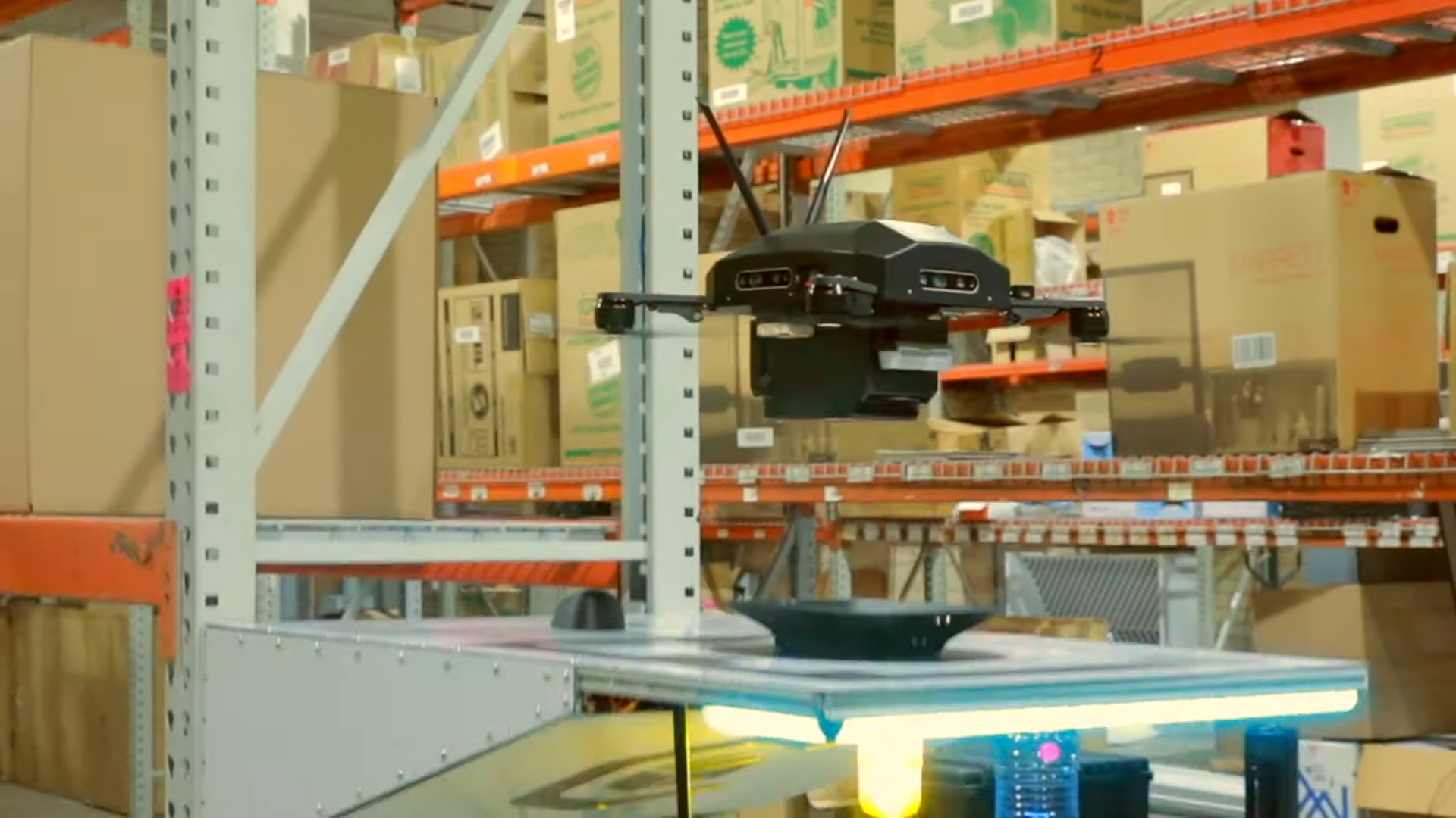 Drone flying in a warehouse