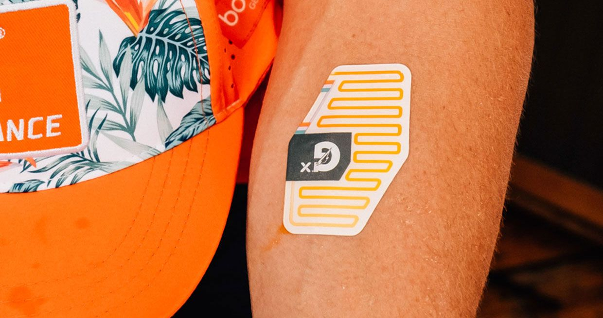 Epicore Biosystems' flexible, stretchable, single-use patch on an arm.