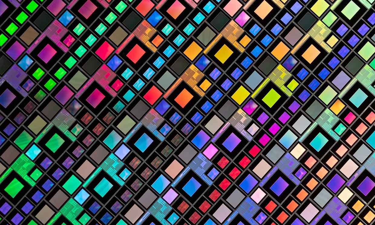 Extreme Close-up Shot of Semiconductor Silicon Wafer Grid Pattern