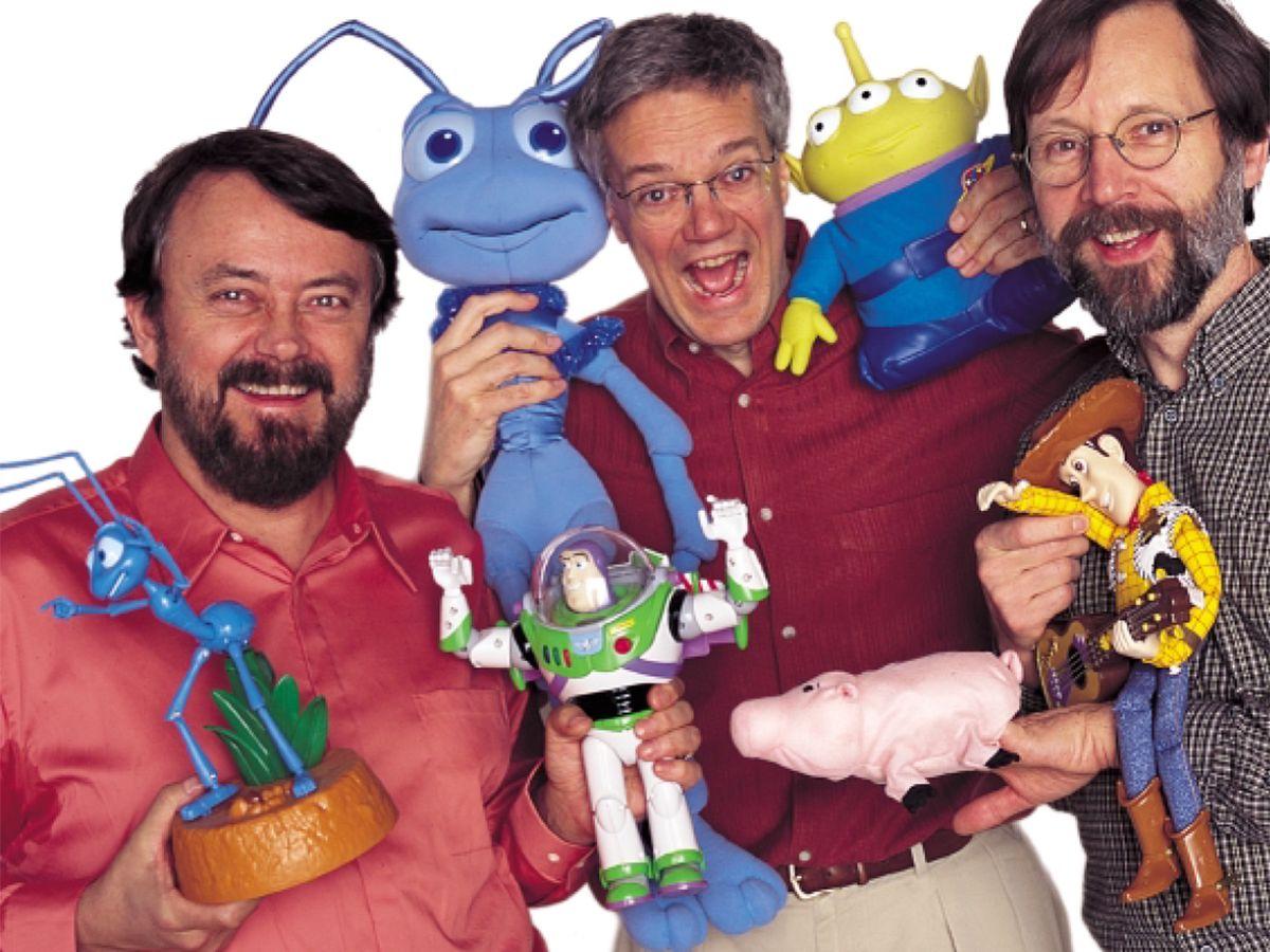 Photo of Pixar's Loren Carpenter, Rob Cook, and Ed Catmull.