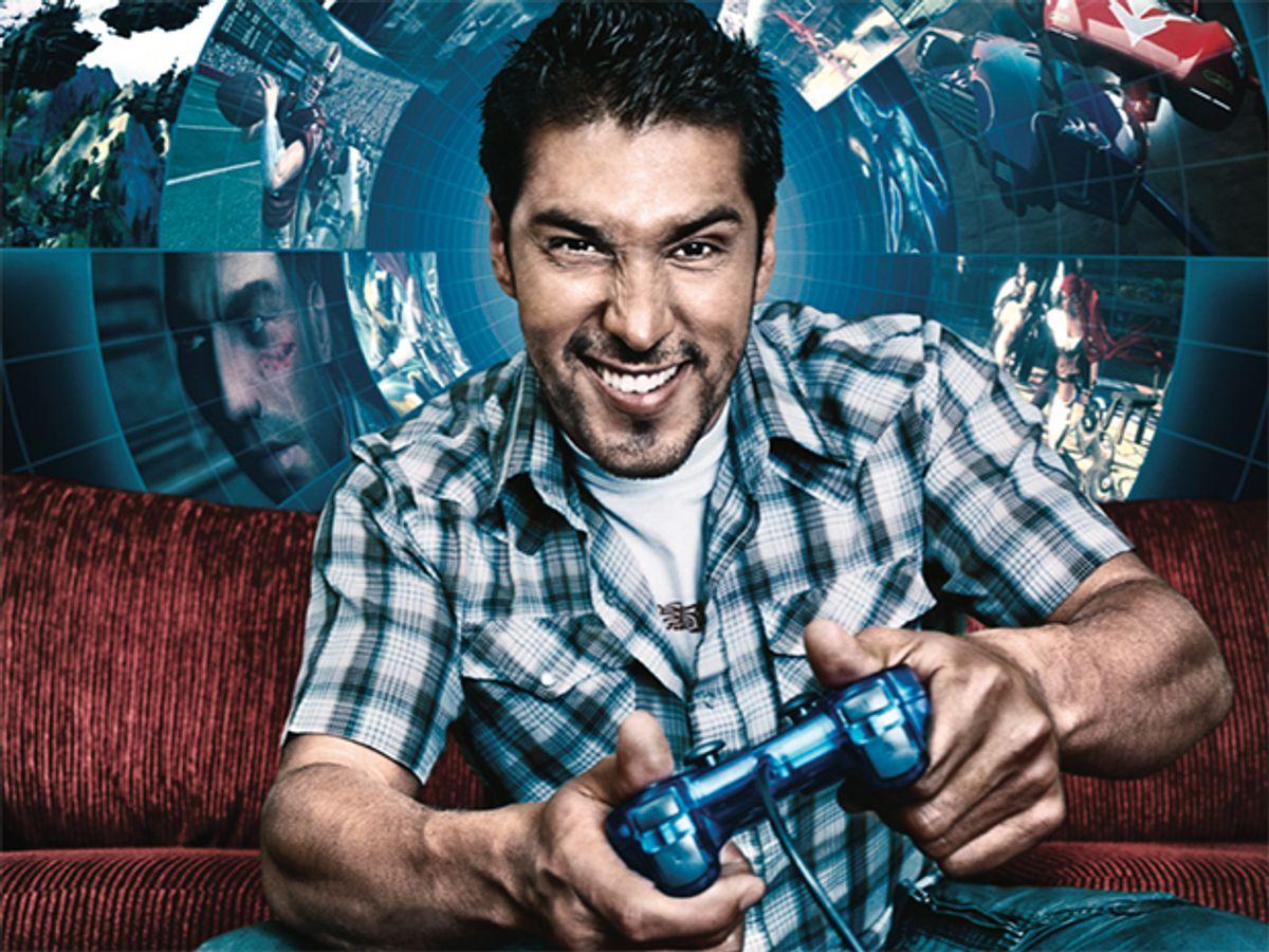 Photo-illustration of gamer.