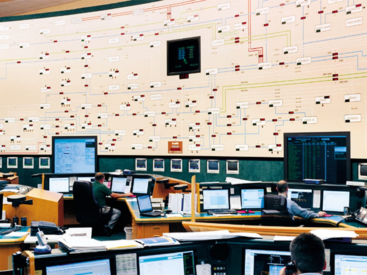 Photo showing controllers at the New England Independent System Operator in Holyoke, Mass.,