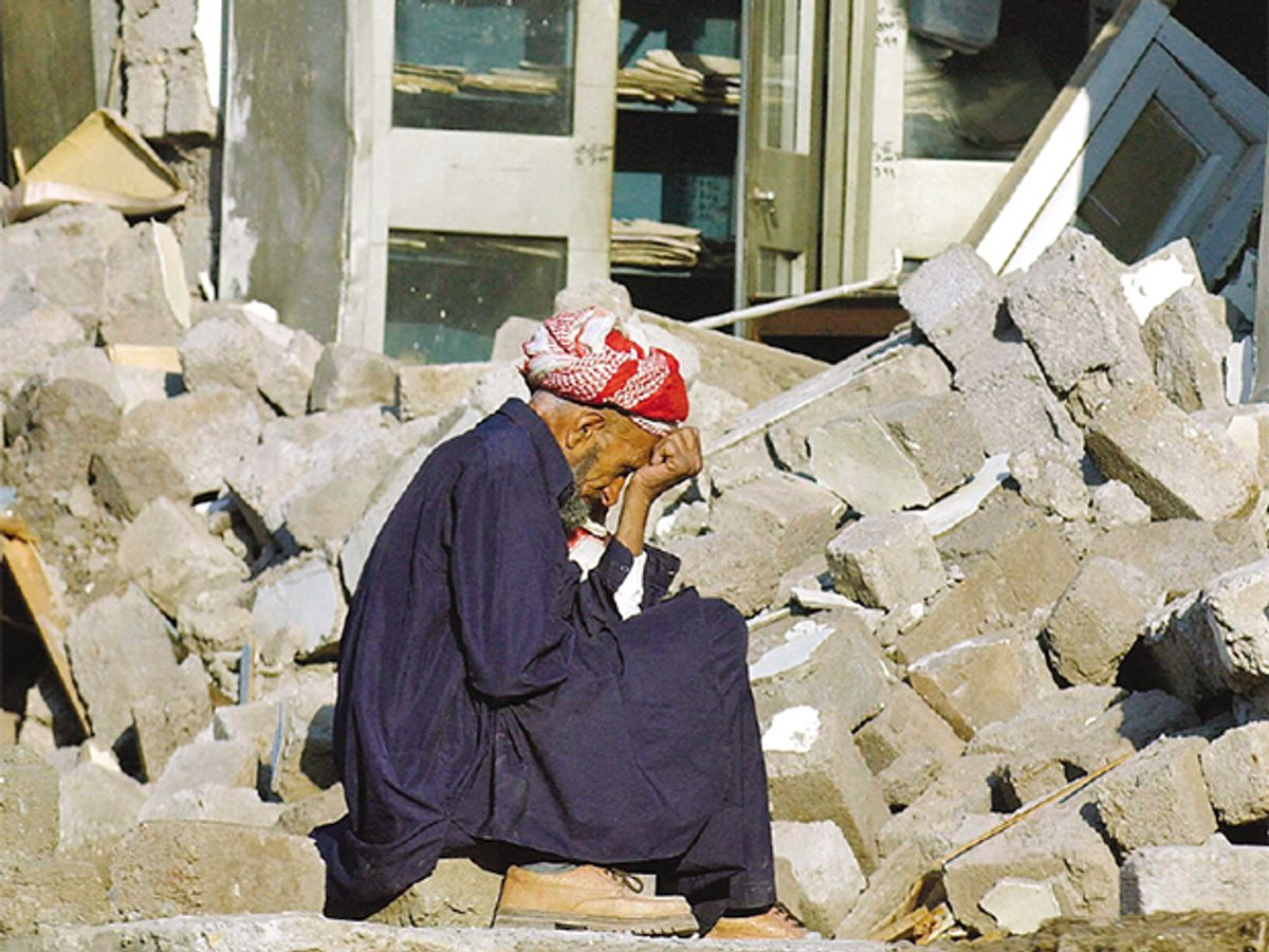 Post-earthquake photo of person on the Pakistani side of Kashmir.