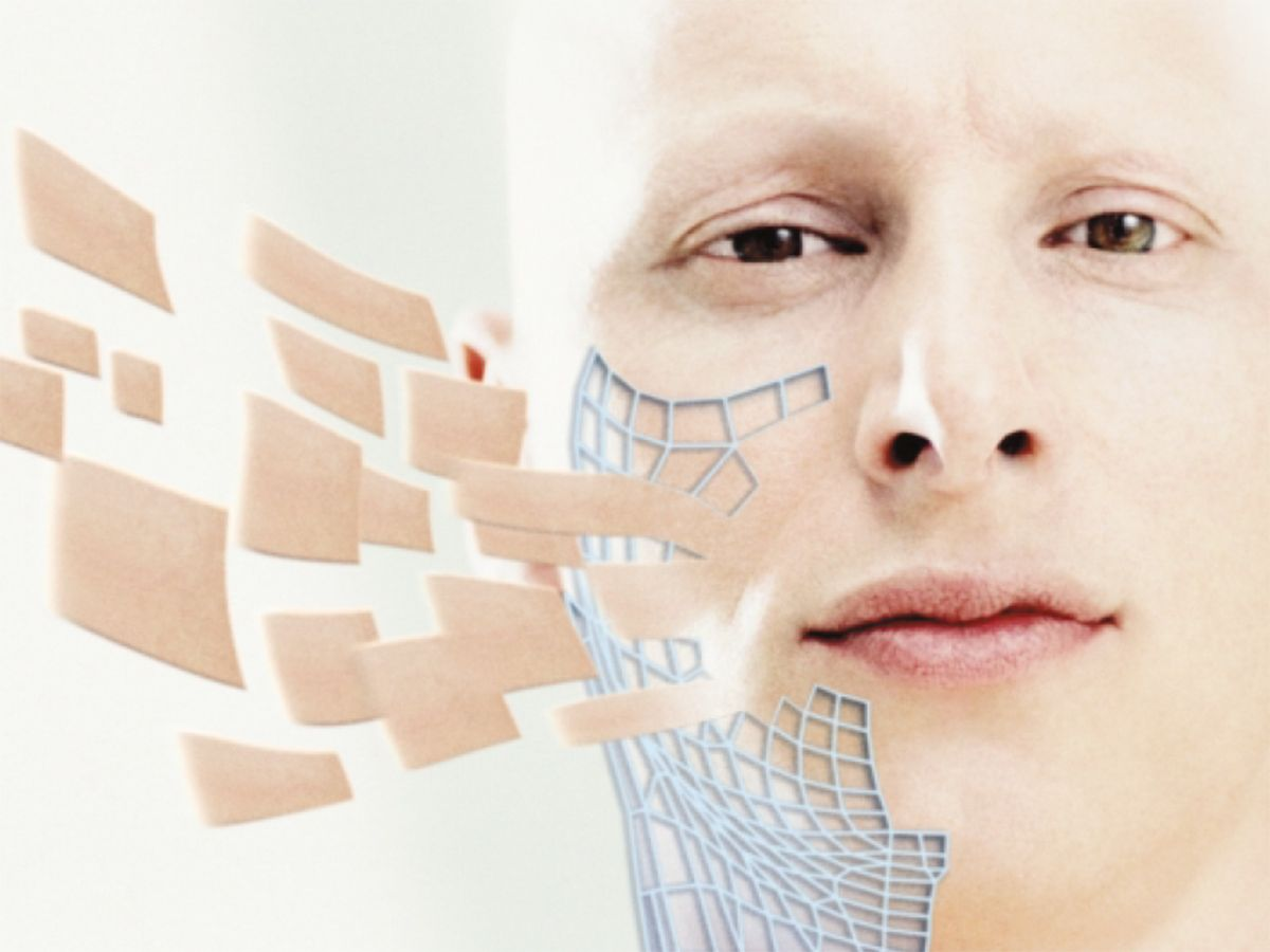 Photo-illustration of man with synthetic skin.