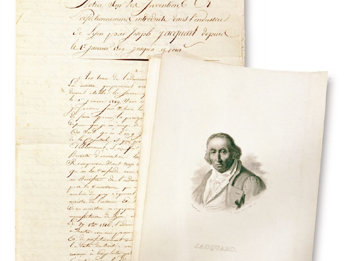 Photo of  a signed, unpublished manuscript written by Joseph Marie Jacquard.