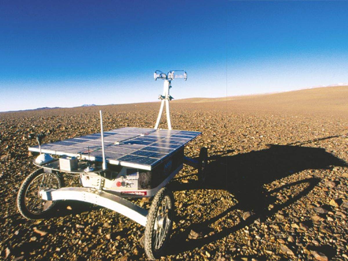 Photo of Zoë, a prototype for a new breed of planetary rover.