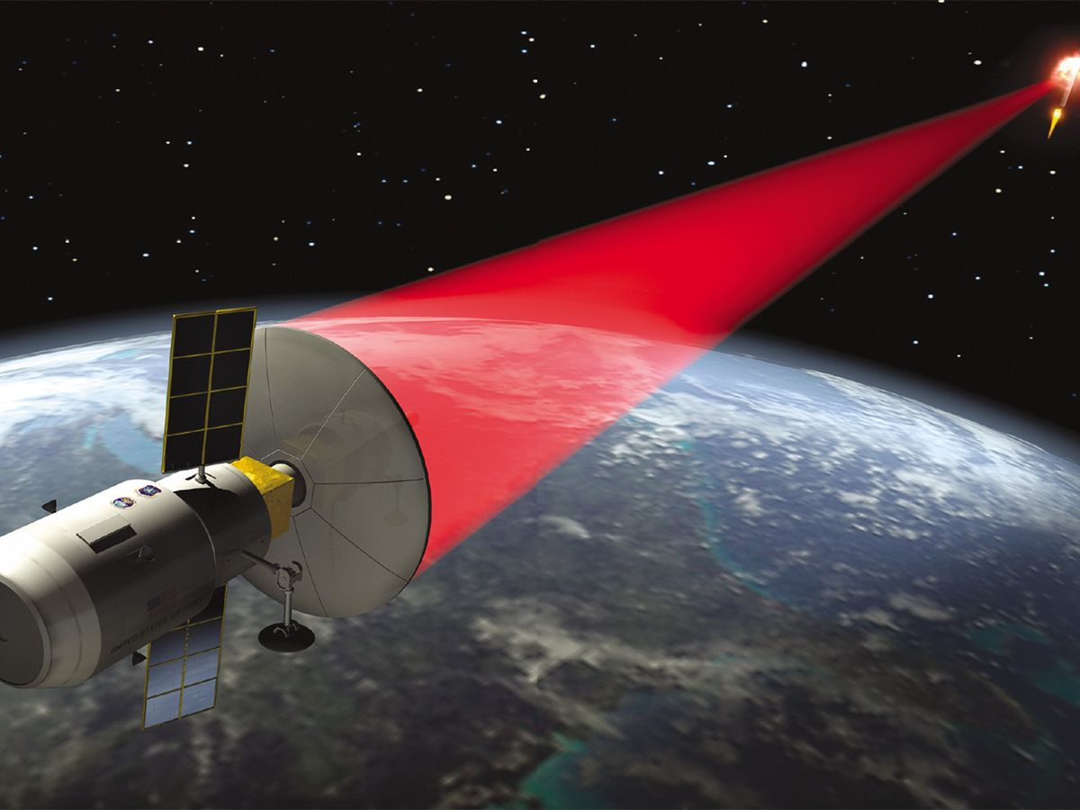 Illustration of space-based lasers destroying targets