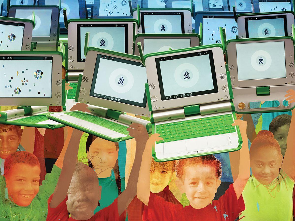 Illustration of children holding up laptops under a blue sky