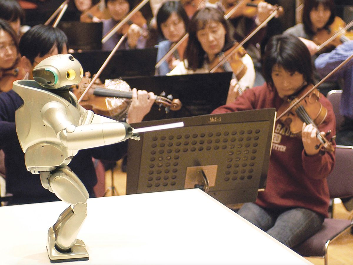 Photo of Qrio, the biped humanoid robot from Sony Corp., Tokyo.