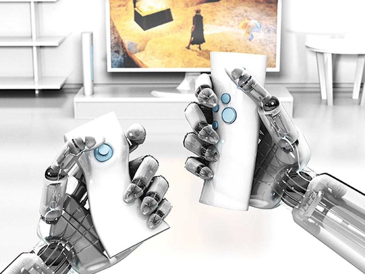 Illustration of bot holding game remotes
