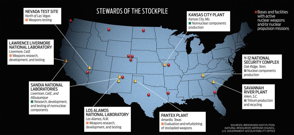 map showing stockpiles in the U.S.