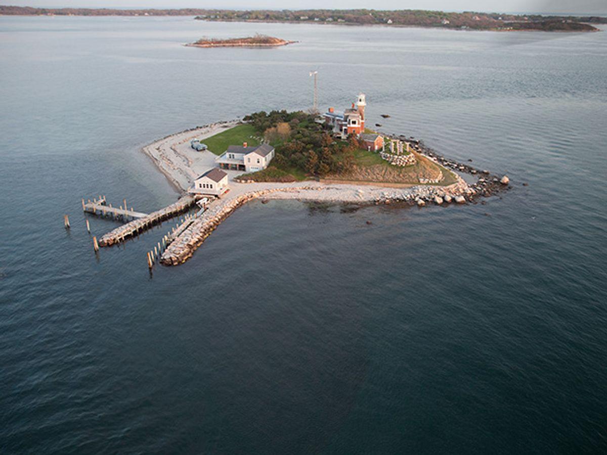 Overhead photo of Dean Kamen's island.