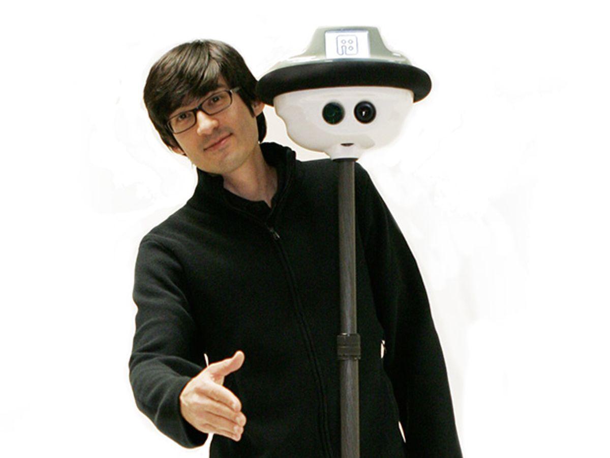 Erico with the Anybots QB telepresence robot.