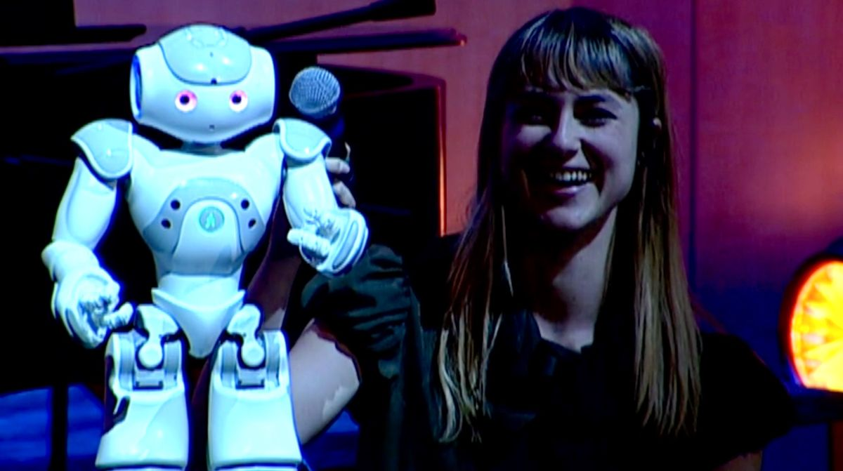 Heather Knight with Nao robot during TED performance