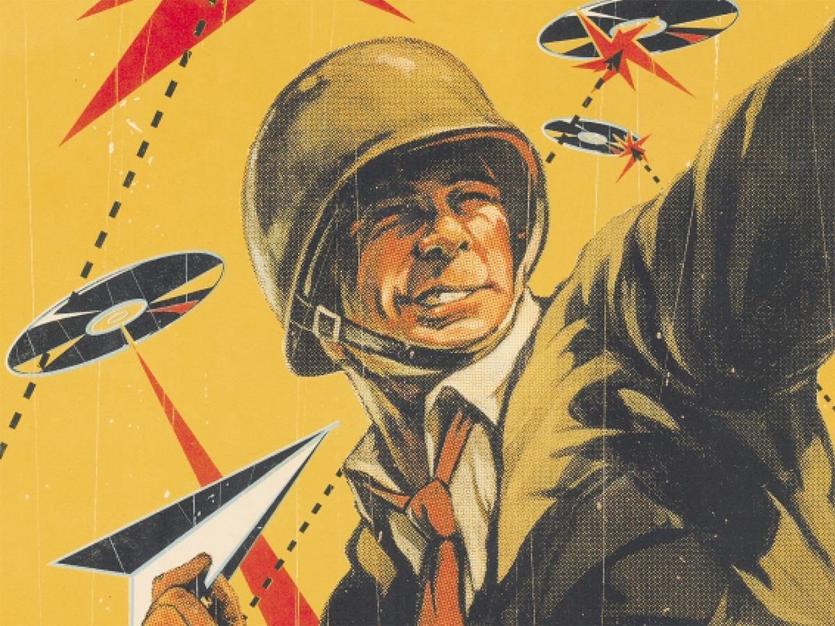 illustration of soldier throwing paper planes amid flying CD discs.