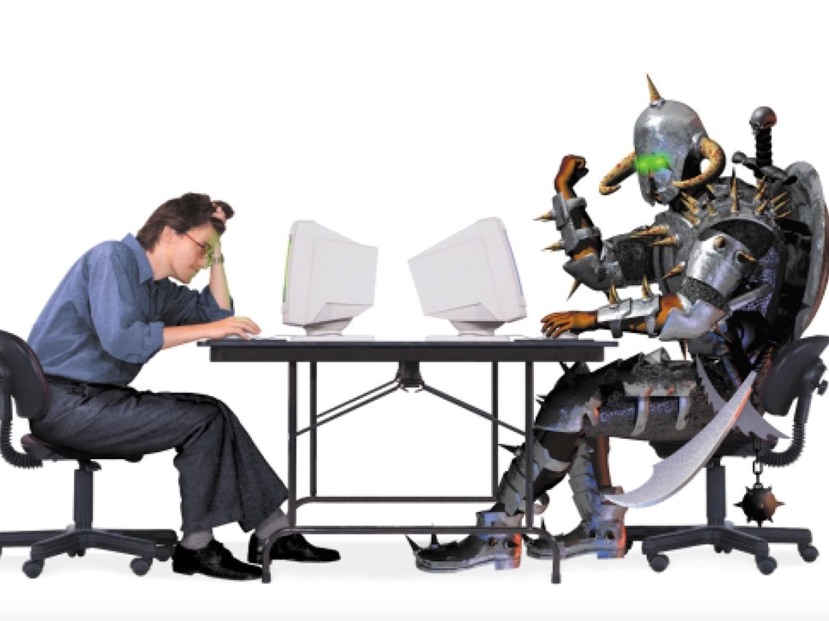 photo illustration of human and non-human opponent.
