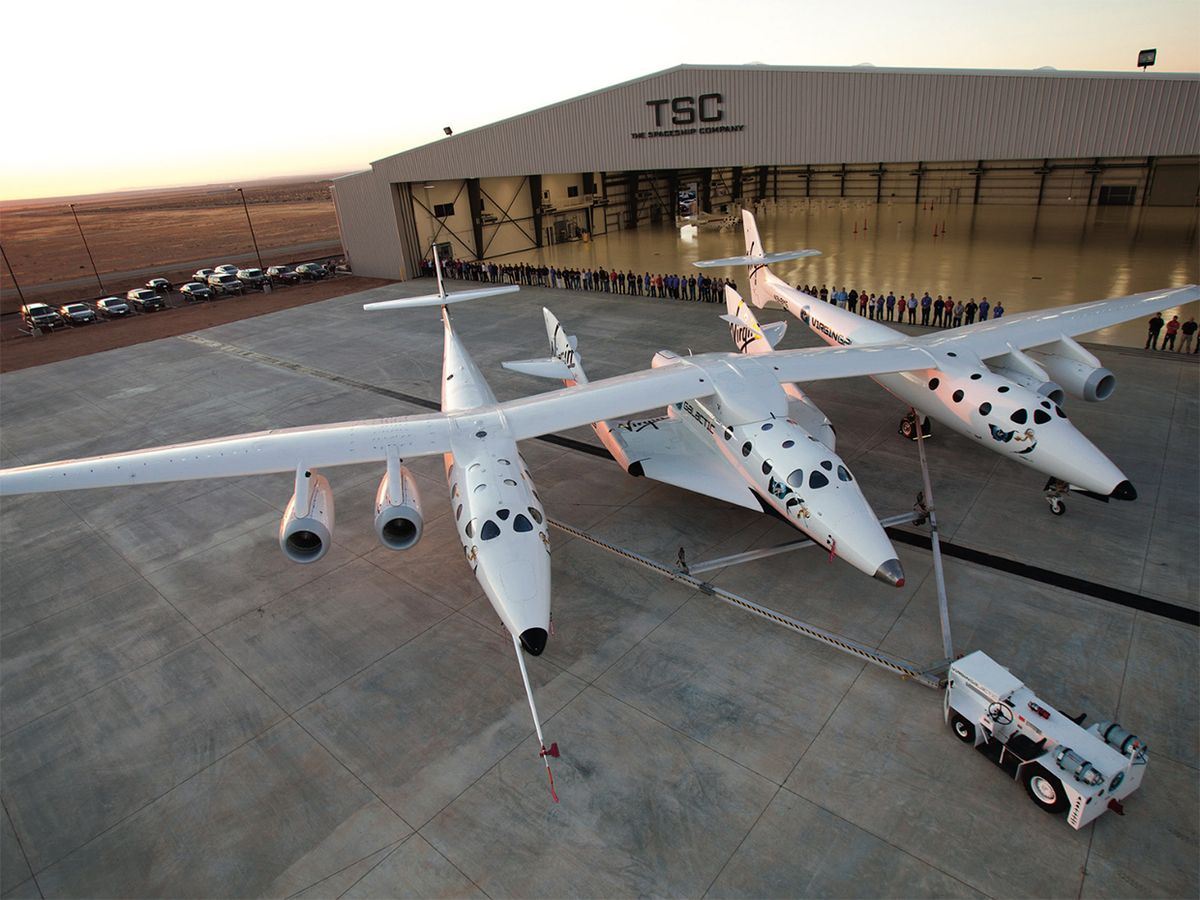 Virgin Galactic's SpaceShipTwo, attached to its carrier, WhiteKnightTwo.