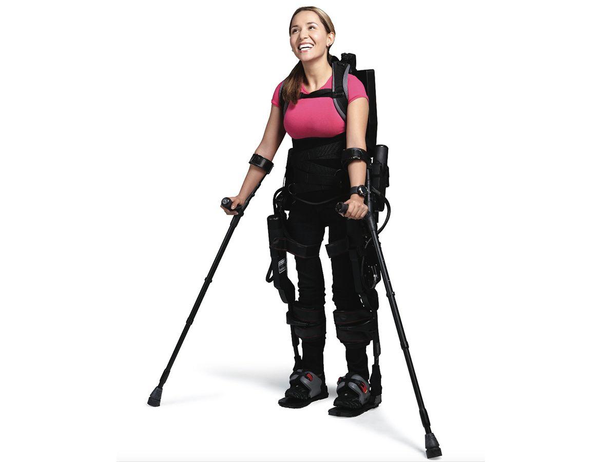 Photo of user Tamara Mena, in her exoskeleton.