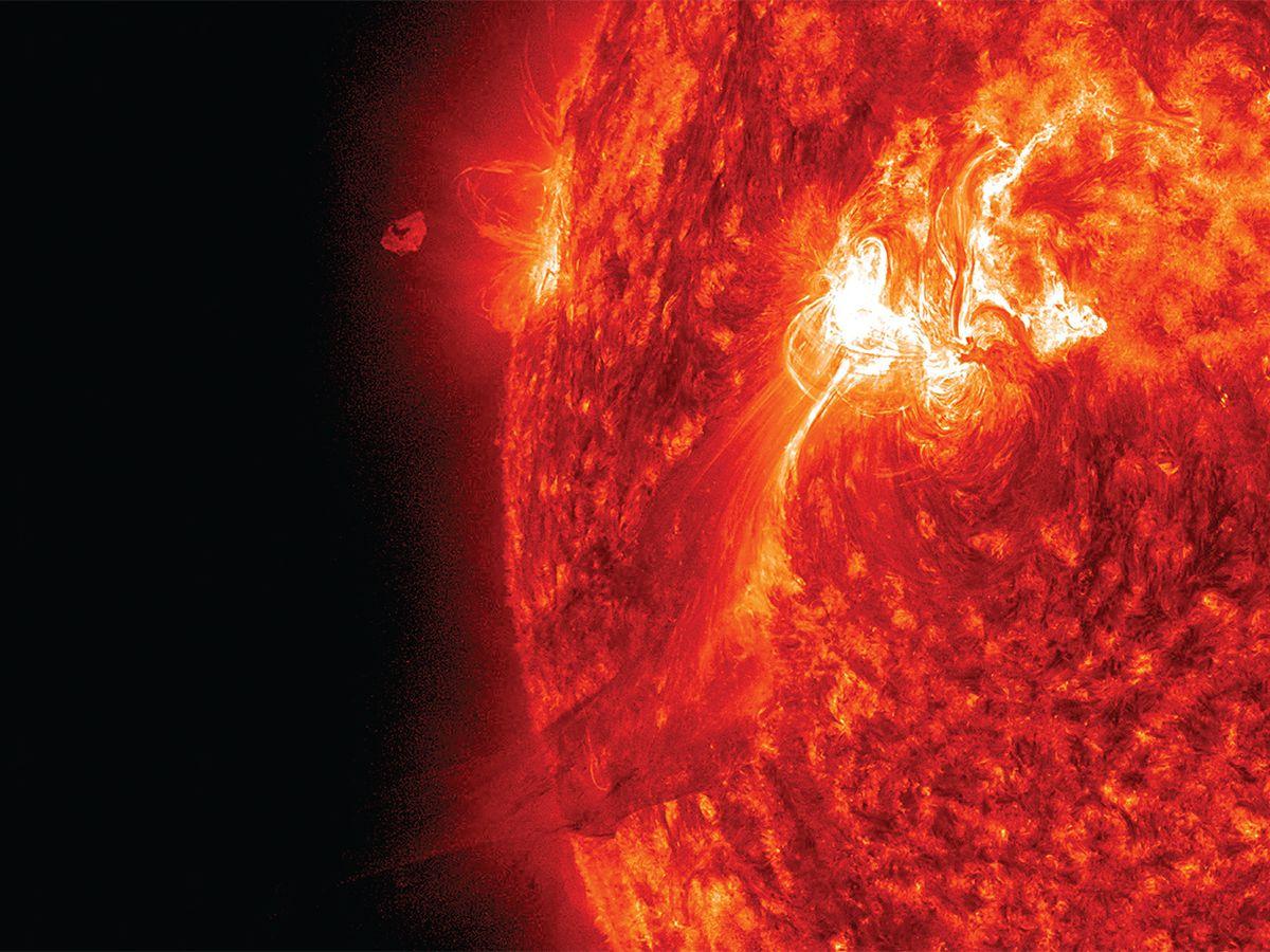 Illustration of a solar storm