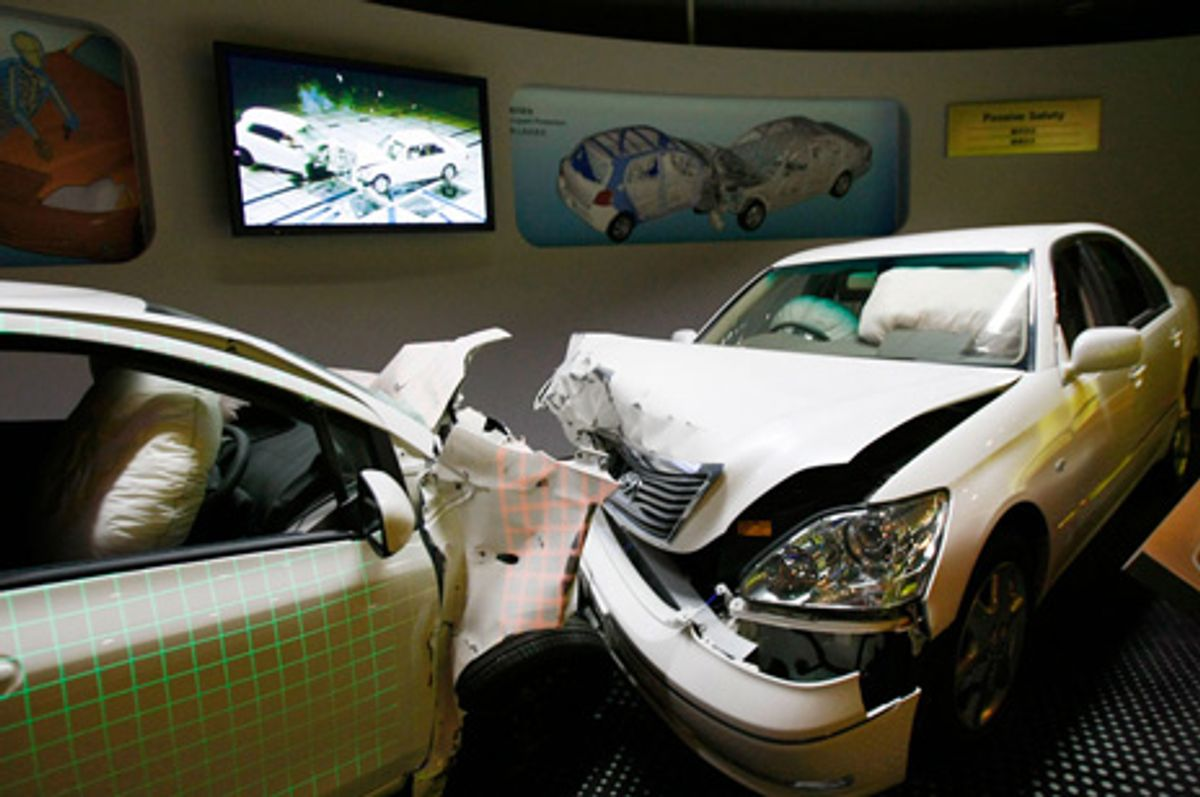Photo of a car crash staged by engineers at Toyota Motor Company's Kaikan Museum and exhibition hall in Toyota, Japan.