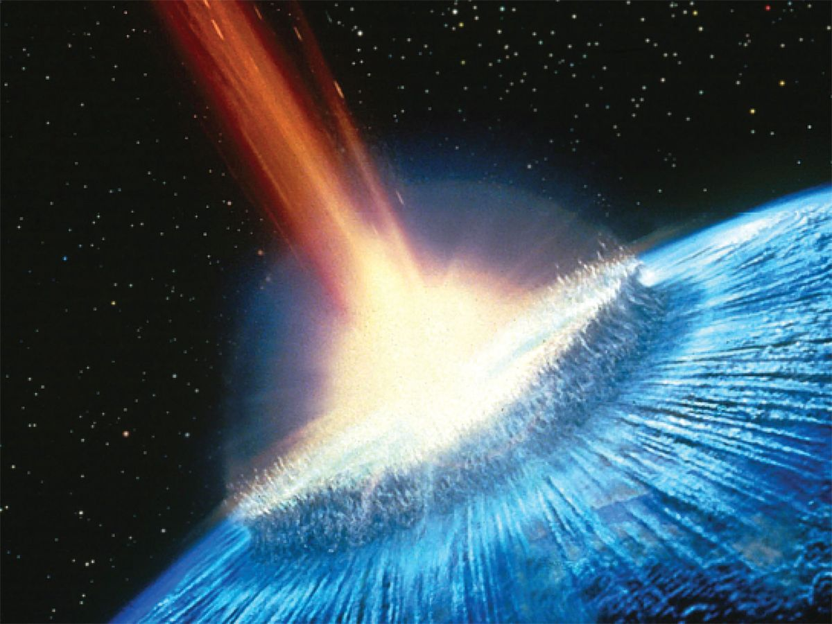 illustrative rendition of asteroid crashing into Earth