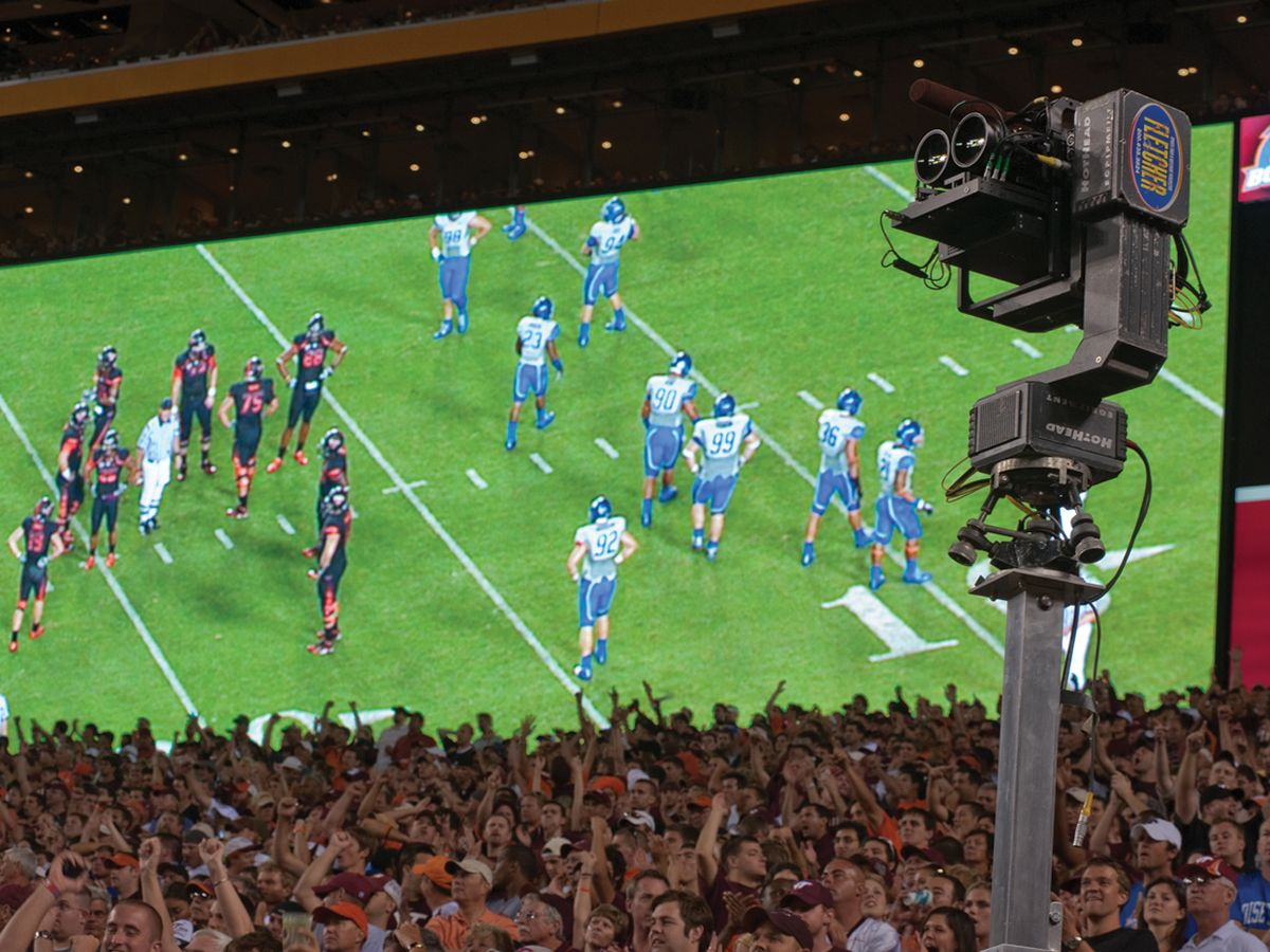 photo of A 3-D camera recording a 2010 football game