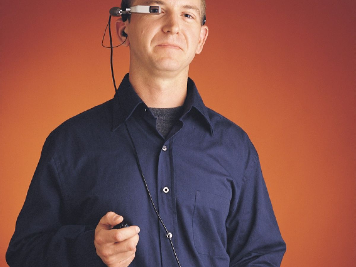 photo of user wearing the IBM Wearable PC prototype