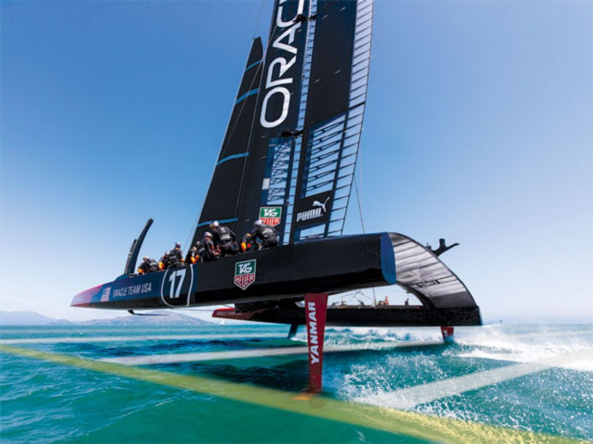 Photo of the Oracle Team USA's boat.