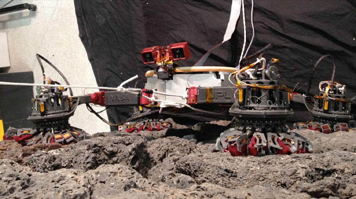 IROS 2013: JPL's Microspine Rock-Climbing Robot