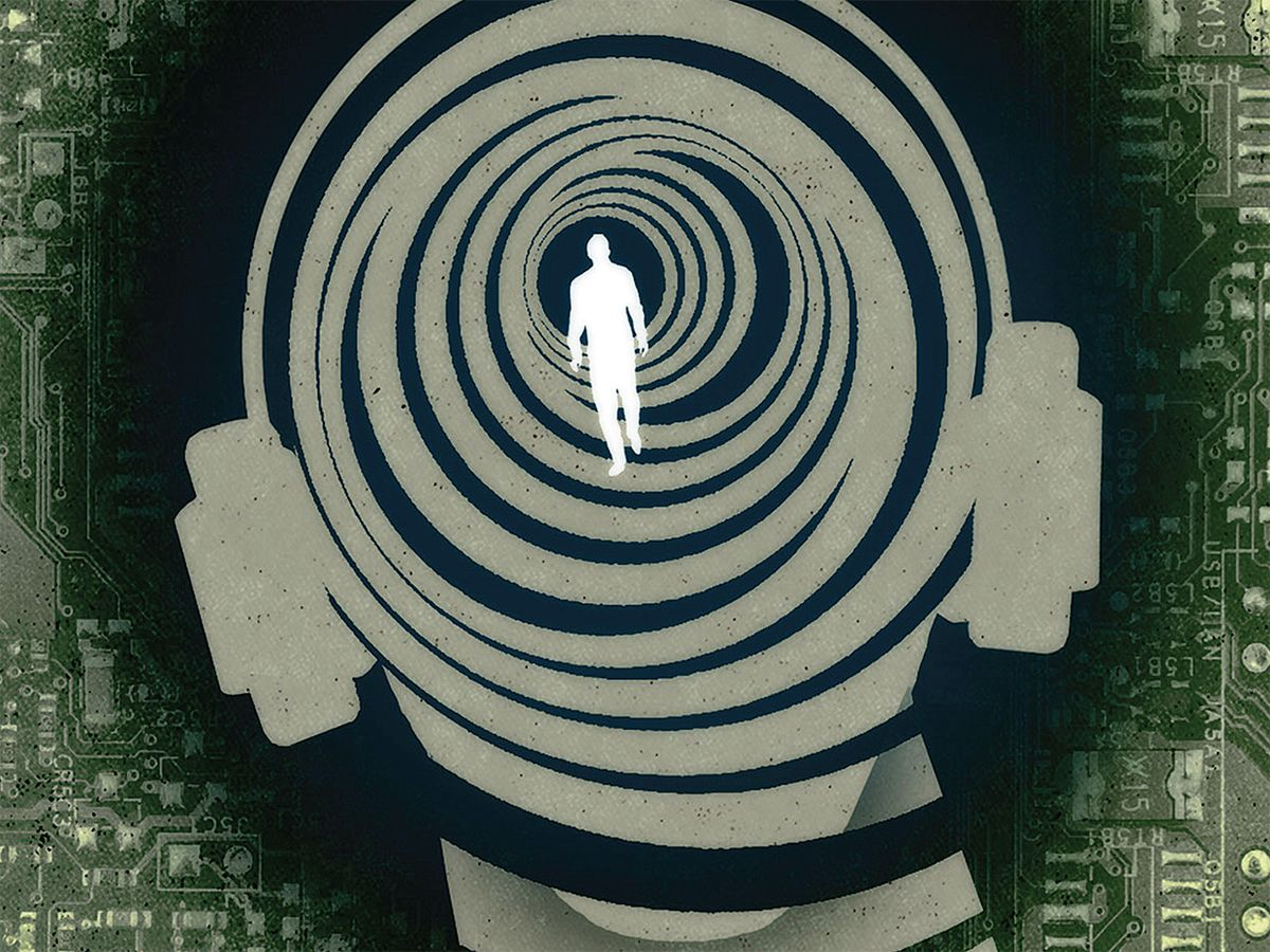 Illustration of man head background with small shadow of man walking inside spiral.