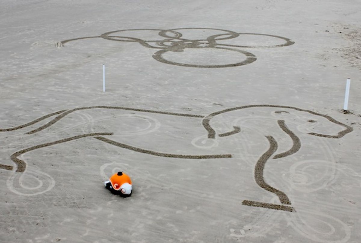 Disney Robot Draws Giant Sketches on the Beach