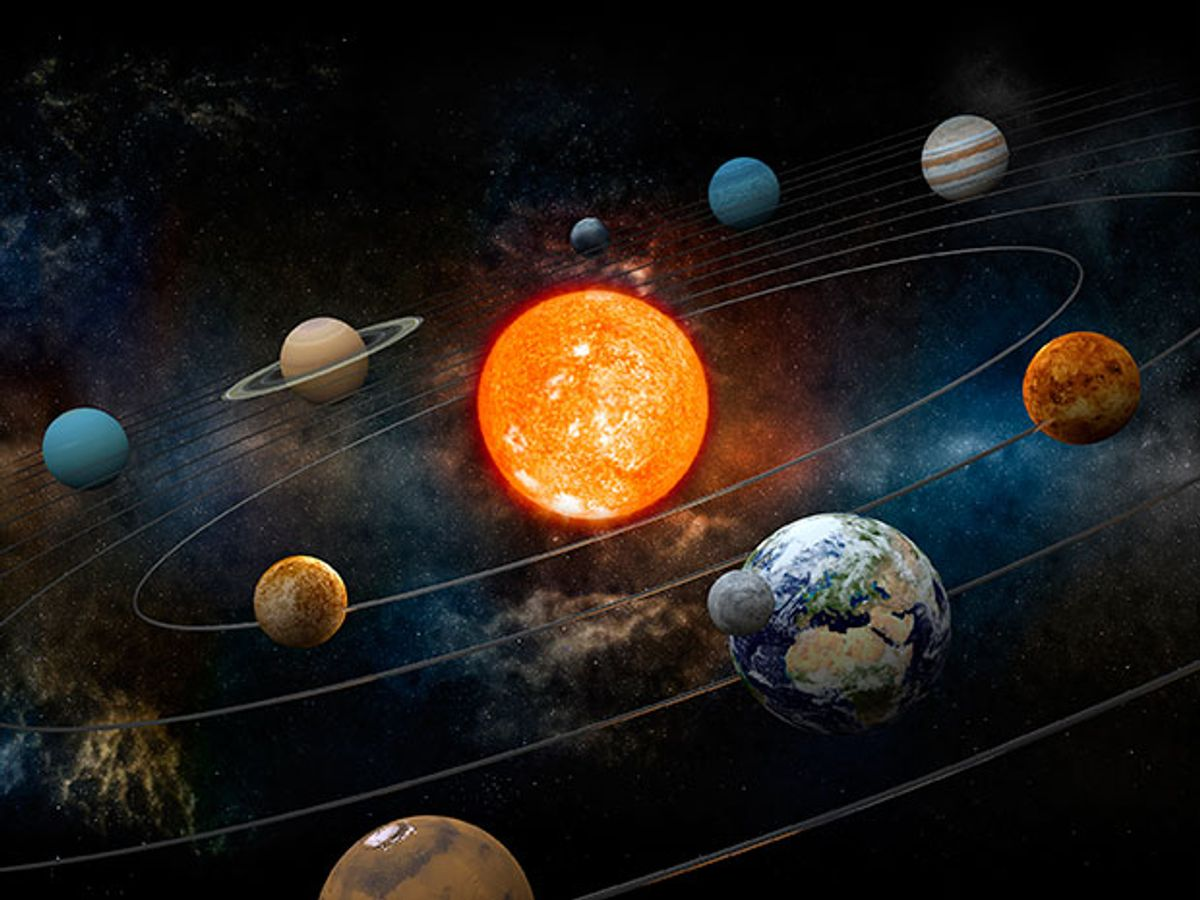 9 planets around the sun.