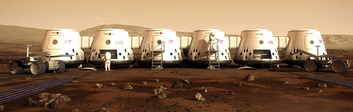 An illustration of a Mars One colony