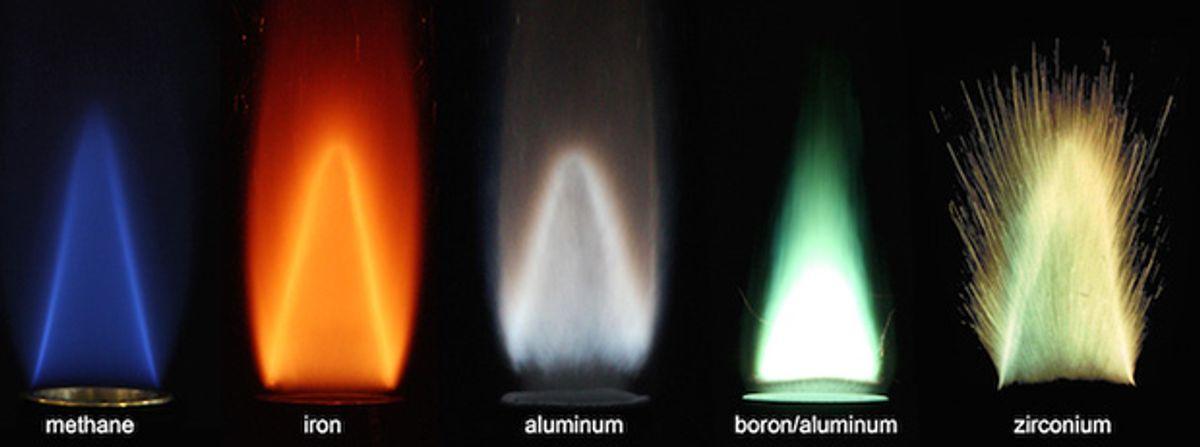 Flames from burning methane, iron, aluminum, boron, and zirconium