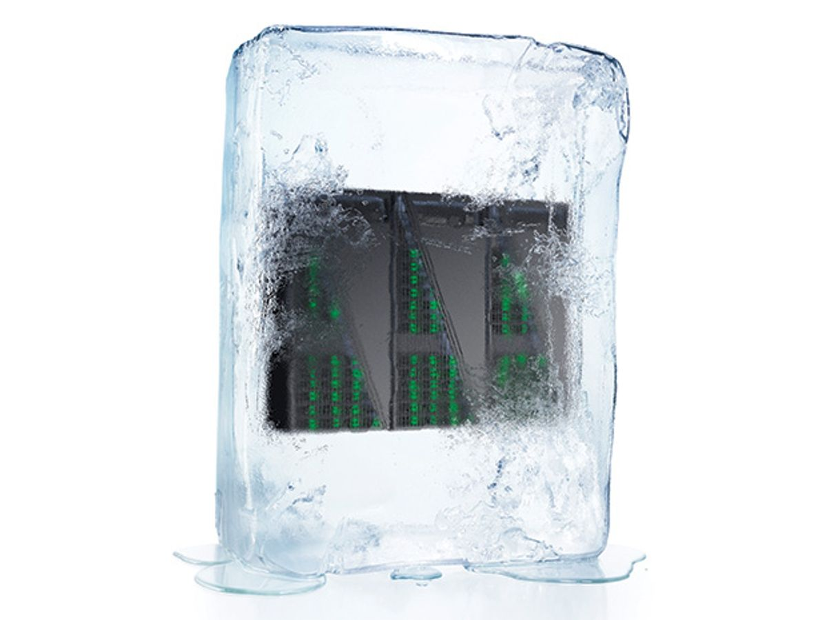 Microchip in an ice cube.