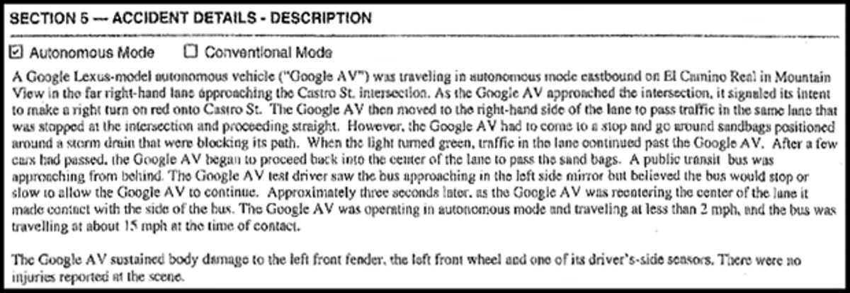 Google Self-Driving Car May Have Caused an Accident